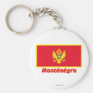 Drapeau Monténégro avec le nom en français Basic Round Button Key Ring