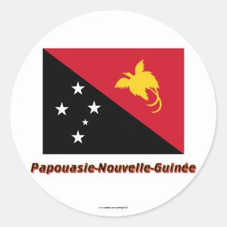 Drapeau Papouasie-Nouvelle-Guinée nom en français Classic Round Sticker