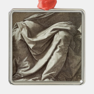 Drapery study for a Seated Figure, c.1475-80 Silver-Colored Square Decoration
