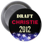 Draught   Chris CHRISTIE 2012 Round Campaign Pin