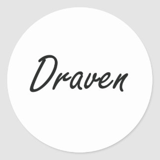 Draven Artistic Name Design Round Sticker