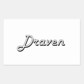 Draven Classic Retro Name Design Rectangular Sticker