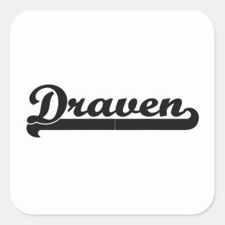 Draven Classic Retro Name Design Square Sticker