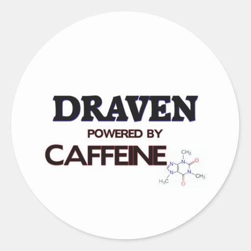 Draven powered by caffeine round stickers