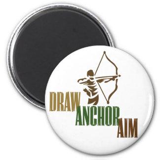 Draw. Anchor. Aim. 6 Cm Round Magnet