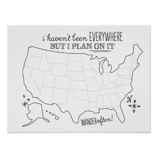 Draw On American Travel Map Fill in Poster – Fill In Travel Map