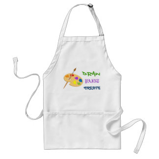 Draw, Paint, Create art apron with palette