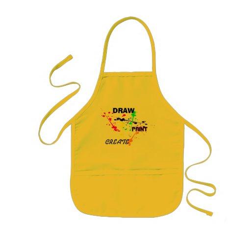 Draw, Paint , Create Yellow kids Art paint splash Apron
