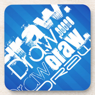 Draw, Royal Blue Stripes Drink Coaster