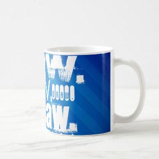 Draw, Royal Blue Stripes Coffee Mugs