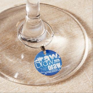 Draw, Royal Blue Stripes Wine Glass Charm