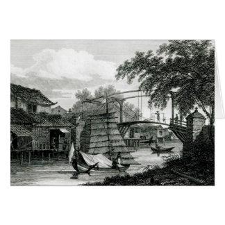 Drawbridge at Malacca, engraved by George Cooke Greeting Card