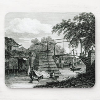 Drawbridge at Malacca, engraved by George Cooke Mouse Mat