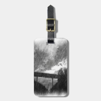 drawing bridge from road luggage tag