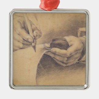Drawing Hands, 1798 Silver-Colored Square Decoration