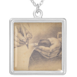 Drawing Hands, 1798 Silver Plated Necklace