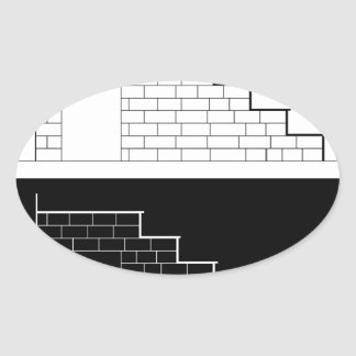 Drawing of a brick stair with stone or marble slab oval sticker