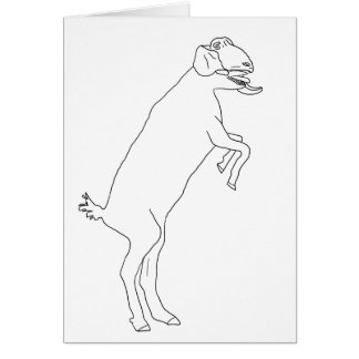 Drawing of a Funny Goat Standing Animal Art Design Card