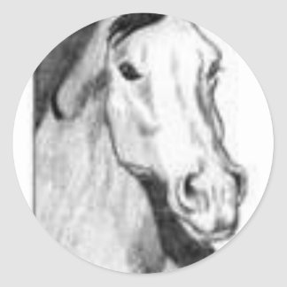 drawing of a horse (black and white) round sticker