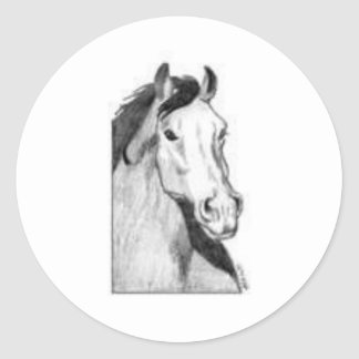 drawing of a horse (black and white) stickers
