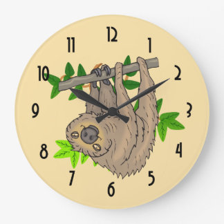 Drawing of a Sloth Hanging Upside Down Large Clock