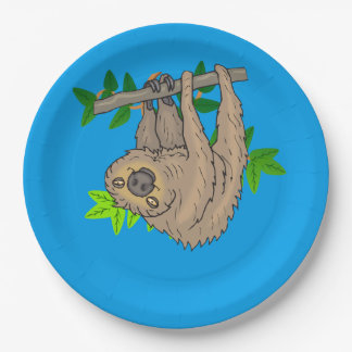 Drawing of a Sloth Hanging Upside Down Paper Plate