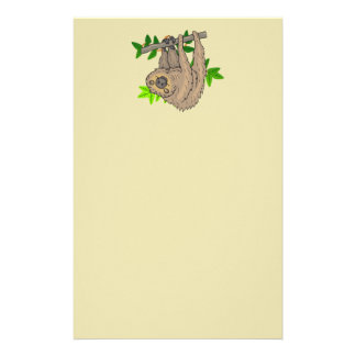 Drawing of a Sloth Hanging Upside Down Stationery