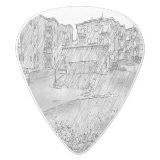 Drawing of apartment white delrin guitar pick