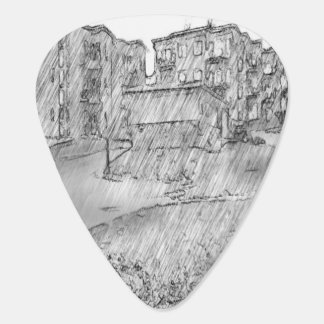 Drawing of apartment guitar pick