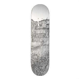 Drawing of apartment skateboard deck