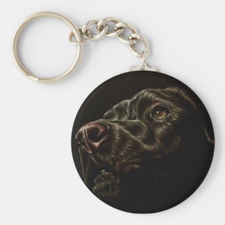 Drawing of Black Dog on Round Key Chain