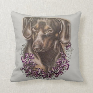 Drawing of Brown Dachshund Dog Art on Pillow