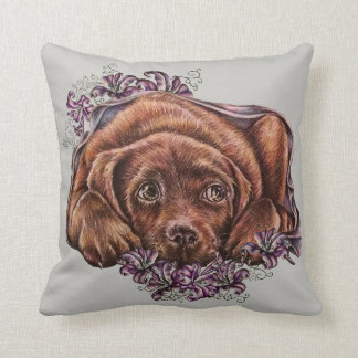 Drawing of Brown Labrador Dog and Lilies on Pillow