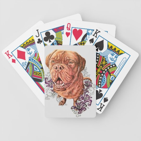 Drawing of Brown Mastiff Dog Art and Lilies