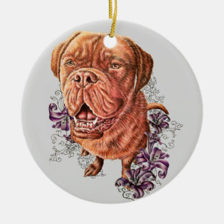 Drawing of Brown Mastiff Dog Art and Lilies Christmas Ornament