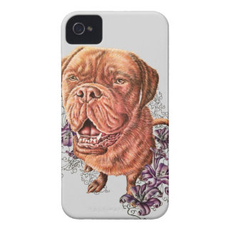 Drawing of Brown Mastiff Dog Art and Lilies iPhone 4 Cover