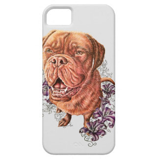 Drawing of Brown Mastiff Dog Art and Lilies iPhone 5 Cases