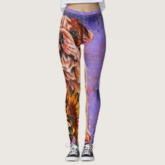 Drawing of Bulldog and Sunflowers Dog Art Leggings