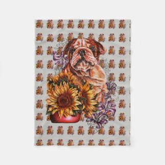 Drawing of Bulldog Sunflowers and Lilies Blanket