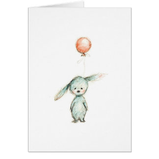 drawing of bunny with pink balloon greeting card
