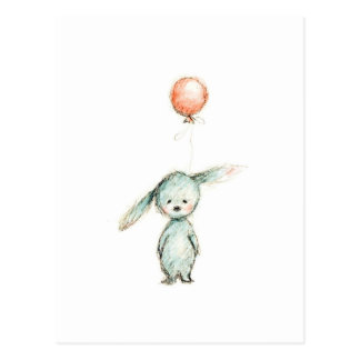 drawing of bunny with pink balloon postcard