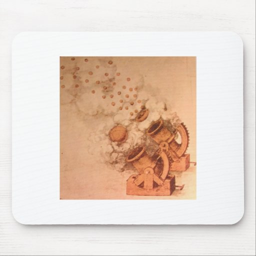 Drawing of Cannons by Leonardo Da VInci Mouse Pads