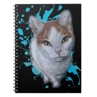 Drawing of Cat Art with Blue Paint Notebook