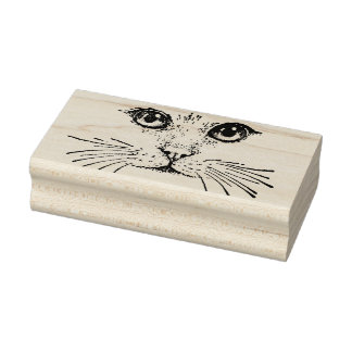 Drawing of Cat Face with Eyes Nose Long Whiskers Rubber Stamp