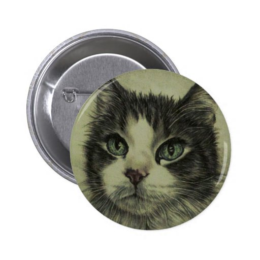 Drawing of Cat with Red Nose on Button