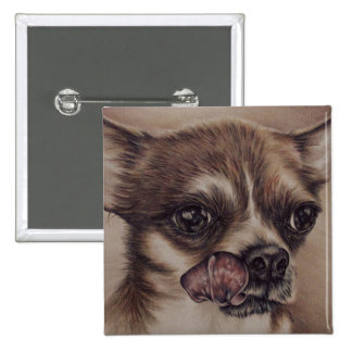 Drawing of Chihuaha Licking Its Lips Pinback Buttons
