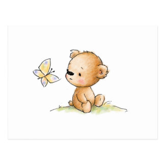 Drawing of cute teddy bear with butterfly postcard