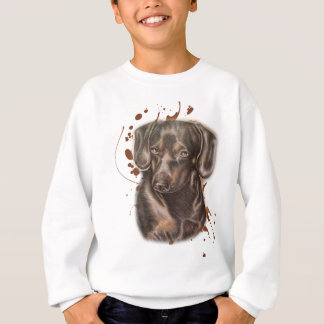 Drawing of Dachshund Dog Art and Paint Sweatshirt