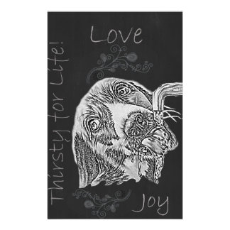 Drawing of Dog Drinking in Chalk Custom Stationery