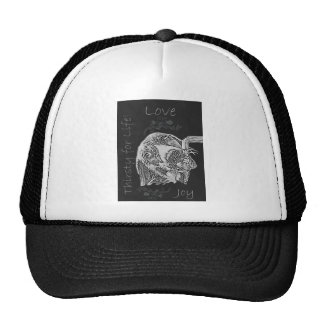 Drawing of Dog Drinking in Chalk Trucker Hat